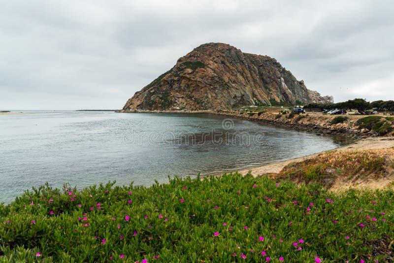 Rocha de Morro no parque estadual da baía de Morro, litoral de Califórnia imagens de stock royalty free
