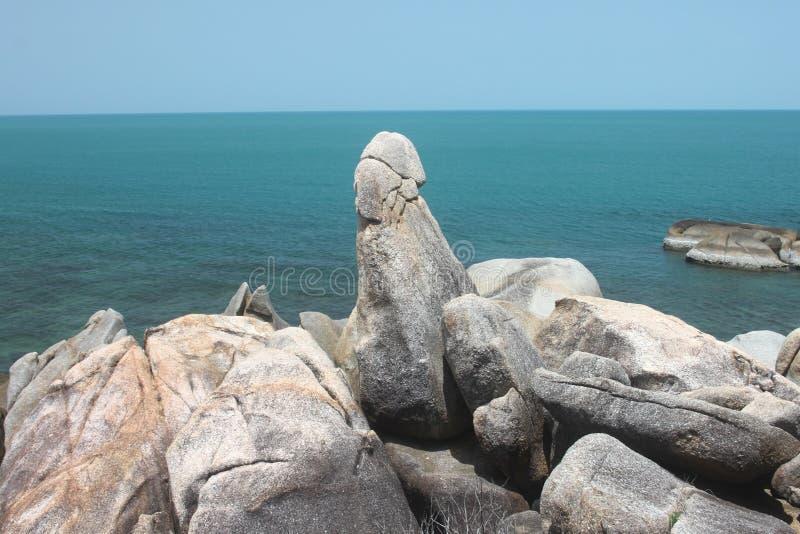 A rocha de primeira geração com o Sião na ilha de Samui em Tailândia fotografia de stock