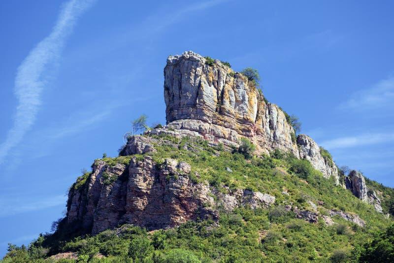 Rocha de Solutre, Borgonha, France fotos de stock