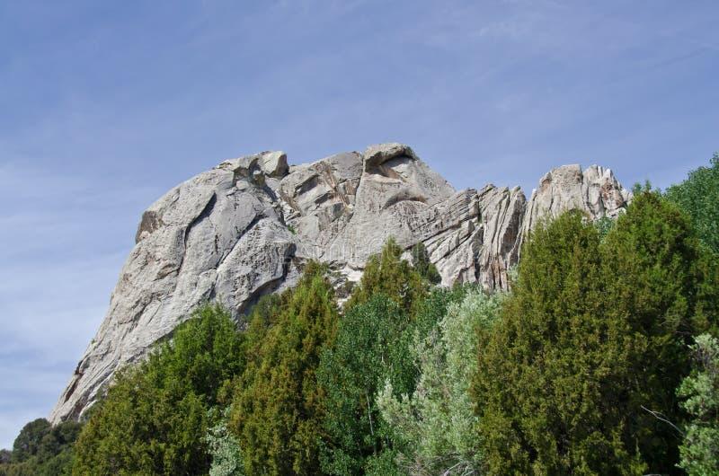 Rocha do castelo acima das árvores imagens de stock royalty free