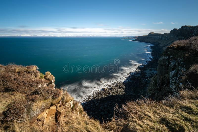 Rocha do kilt, ilha de Skye, Escócia foto de stock