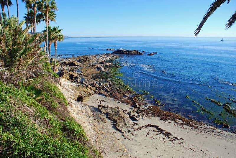 Rocha do pássaro na maré baixa fora do parque de Heisler Praia de Laguna, Califórnia fotografia de stock royalty free