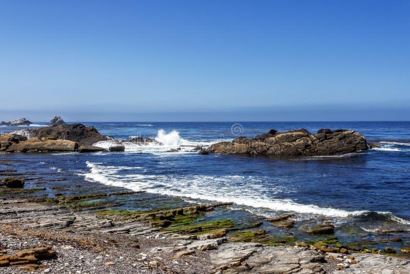 Rocha e formações geological incomuns na maré baixa fotografia de stock