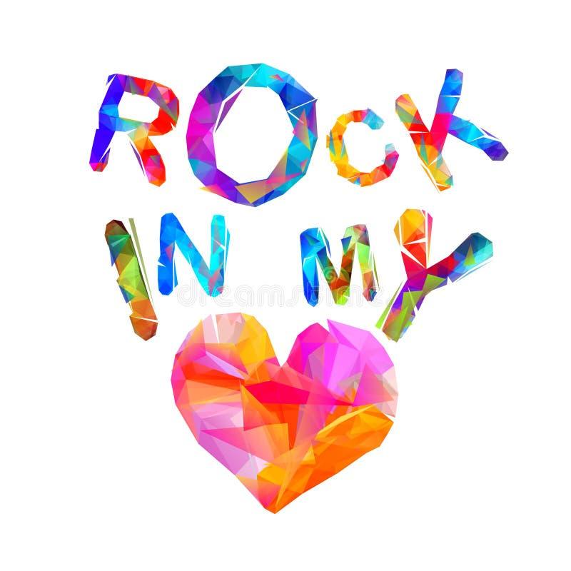 Rocha em meu coração Letras triangulares ilustração royalty free