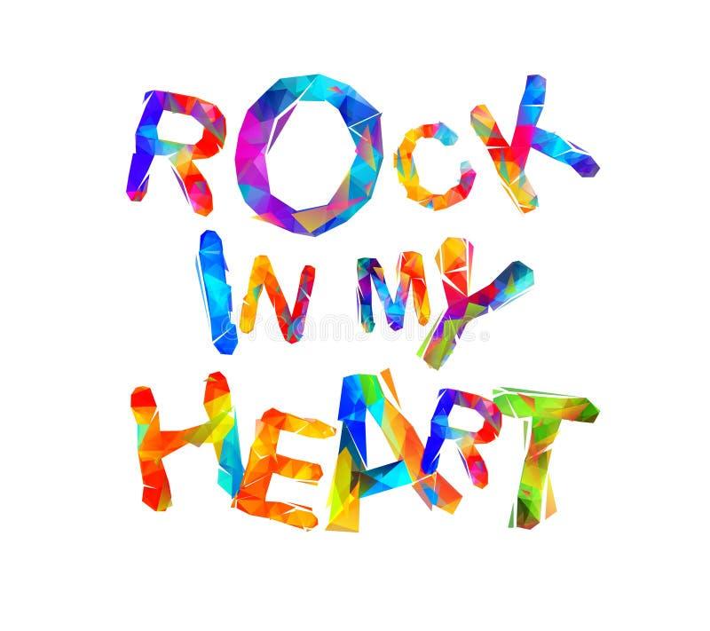 Rocha em meu coração Letras triangulares ilustração stock