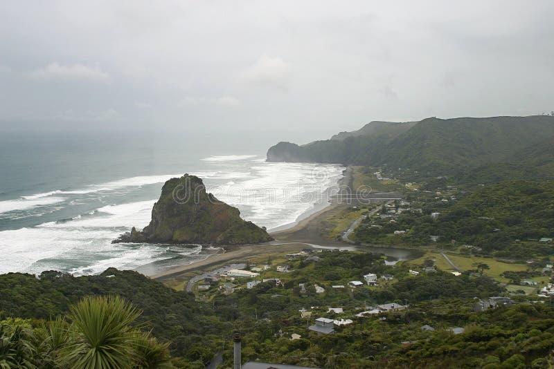 Rocha em Piha, Nova Zelândia do leão imagem de stock