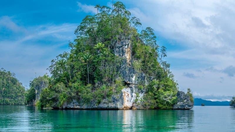 Rocha enorme do triângulo coberto de vegetação com o Palmtrees na baía escondida em Gam Island perto de Kabui e de passagem Papua imagens de stock
