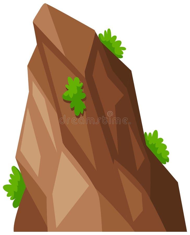 Rocha grande com grama verde ilustração stock
