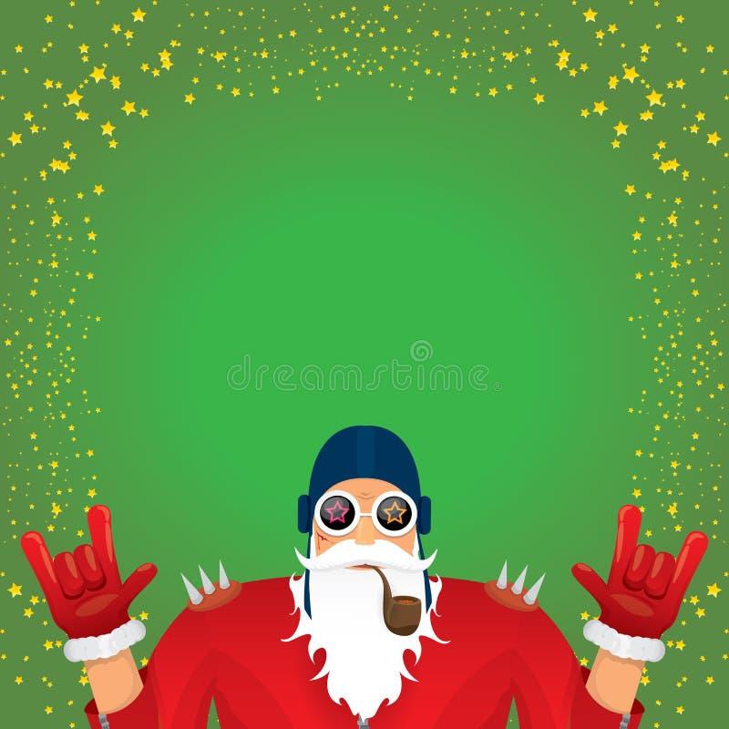A rocha n do DJ do vetor rola Papai Noel com a tubulação de fumo, a barba de Santa e o chapéu funky de Santa isolados no quadrado ilustração royalty free