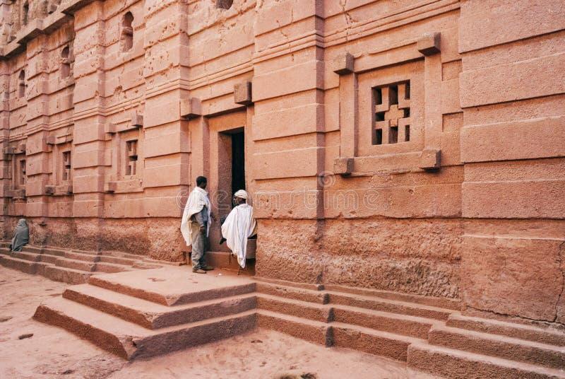 Rocha ortodoxo antiga famosa igrejas desbastadas do lalibela Etiópia fotos de stock