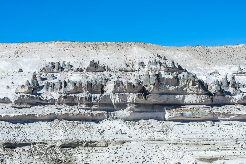 A rocha vulcânica forma no BLANCA de Aguada no Peru de Arequipa foto de stock royalty free