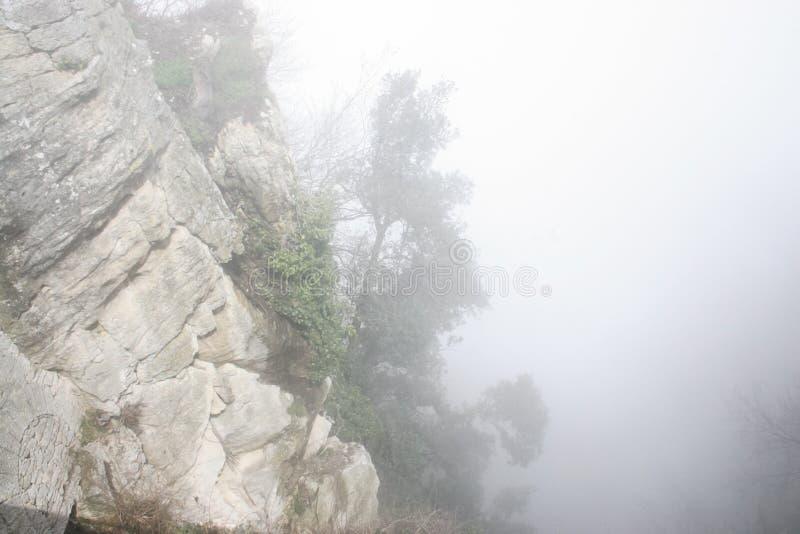 Rochas da montanha na névoa pesada imagem de stock royalty free