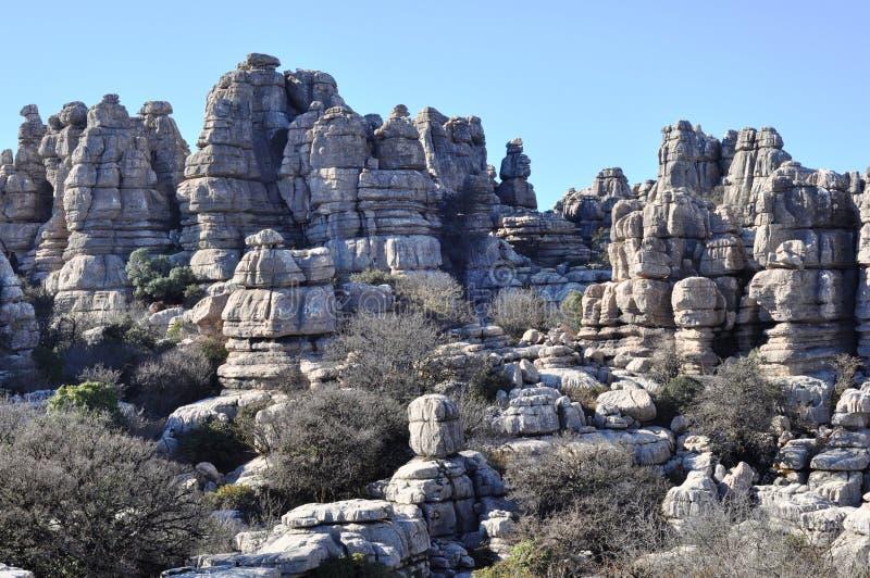 Rochas de EL Torcal de Antequerra, Malaga, Espanha imagens de stock