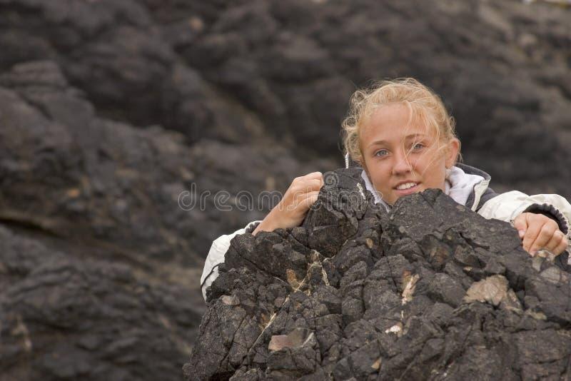 Rochas de escalada de Erica fotos de stock