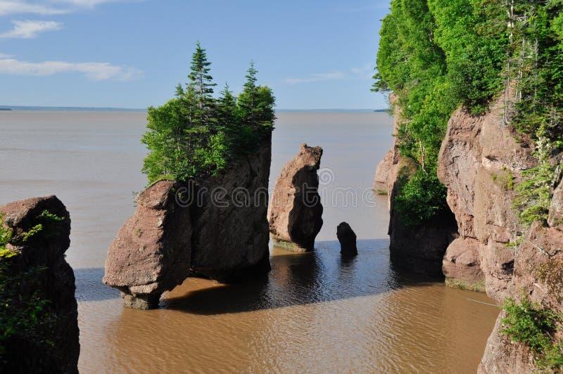 Rochas de Hopewell na maré elevada fotografia de stock
