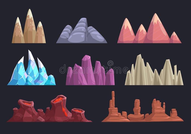 Rochas e montanhas dos desenhos animados ajustadas ilustração royalty free