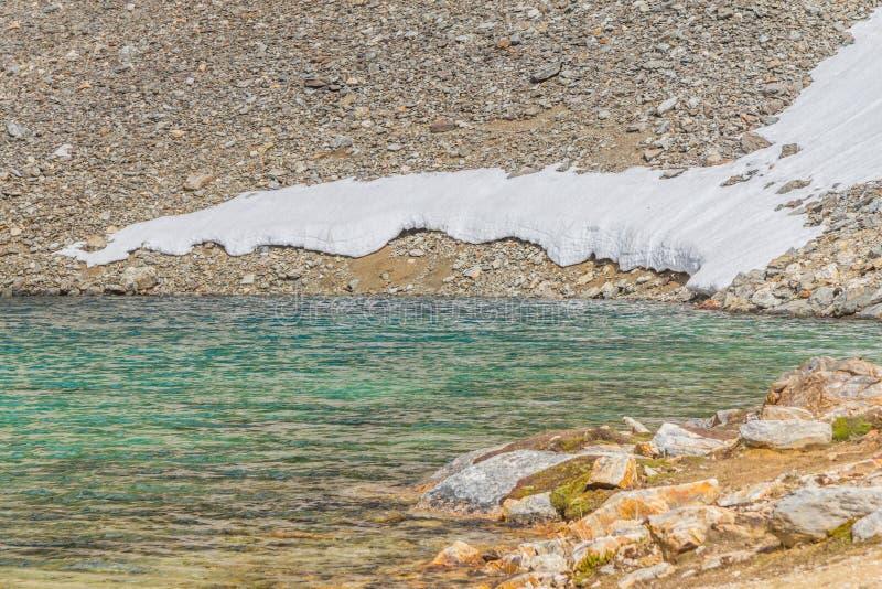 Rochas e neve em Laguna Turquesa imagem de stock royalty free