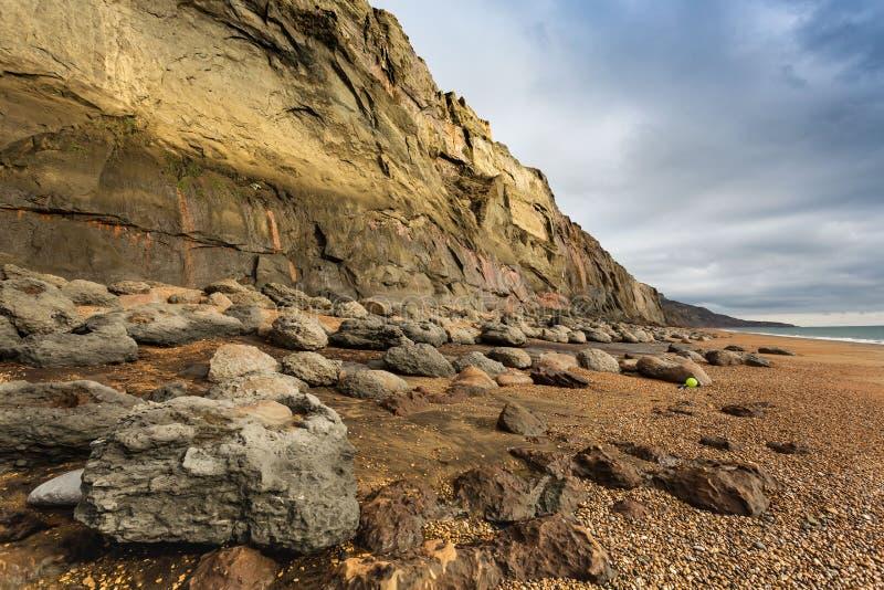 Rochas e restos no pé da baleia Chine Cliffs Isle do Wight, Inglaterra imagem de stock royalty free