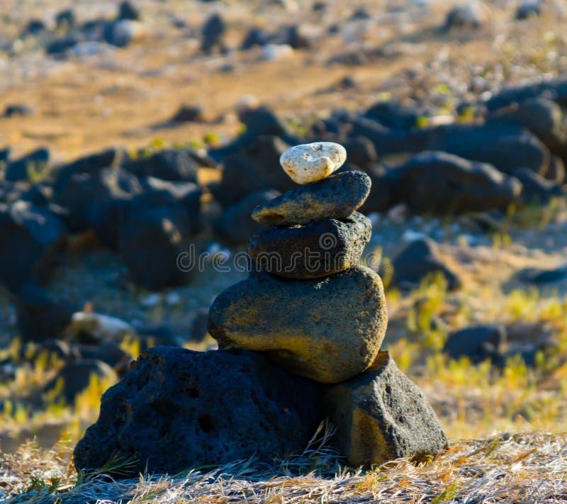 Rochas empilhadas no ponto sul na ilha grande, HI fotos de stock royalty free