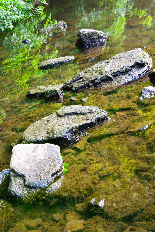 Rochas no lago raso foto de stock royalty free