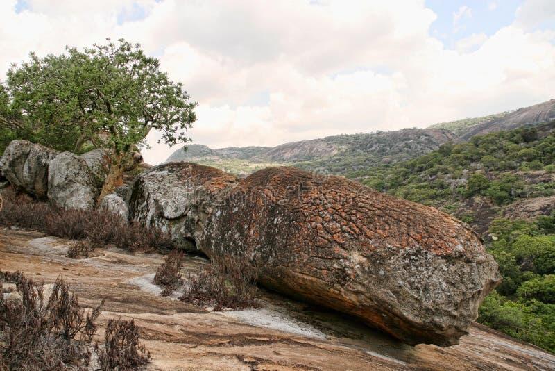 Rochas pungentes do parque nacional de Matopos, Zimbabwe foto de stock