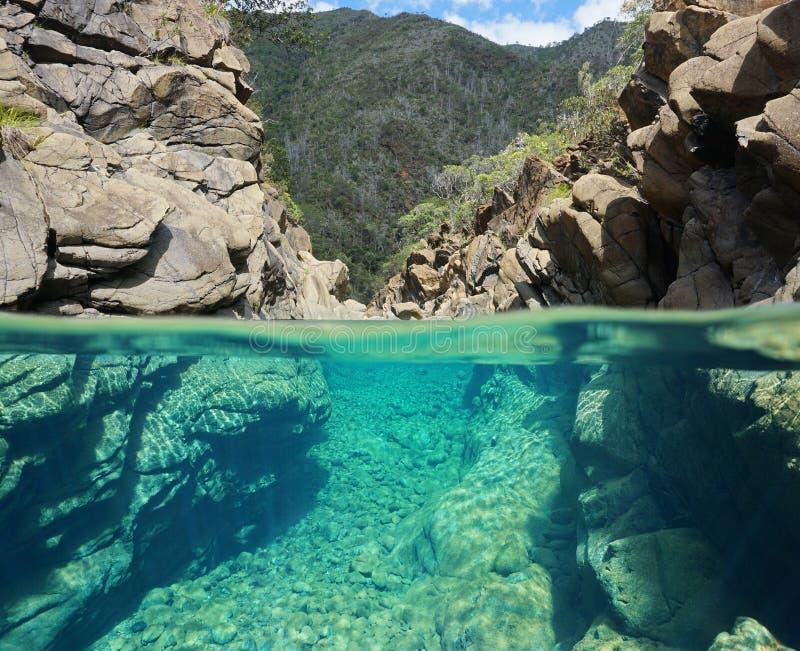 Rochas sobre e opinião subaquática da separação no rio imagem de stock