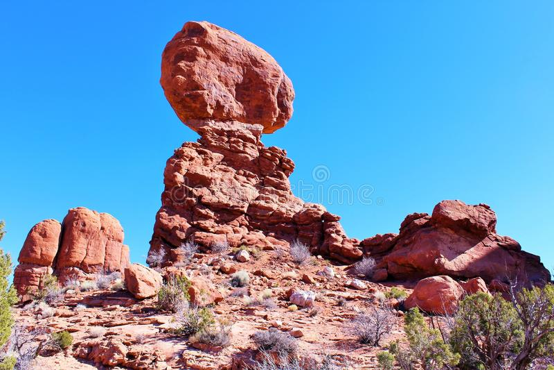 Roche équilibrée, voûtes parc national, ut de Moab photographie stock libre de droits