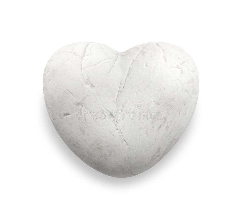 Roche blanche de coeur, pierre blanche de coeur, caillou de marbre blanc dans la forme de coeur, pierre d'amour image libre de droits