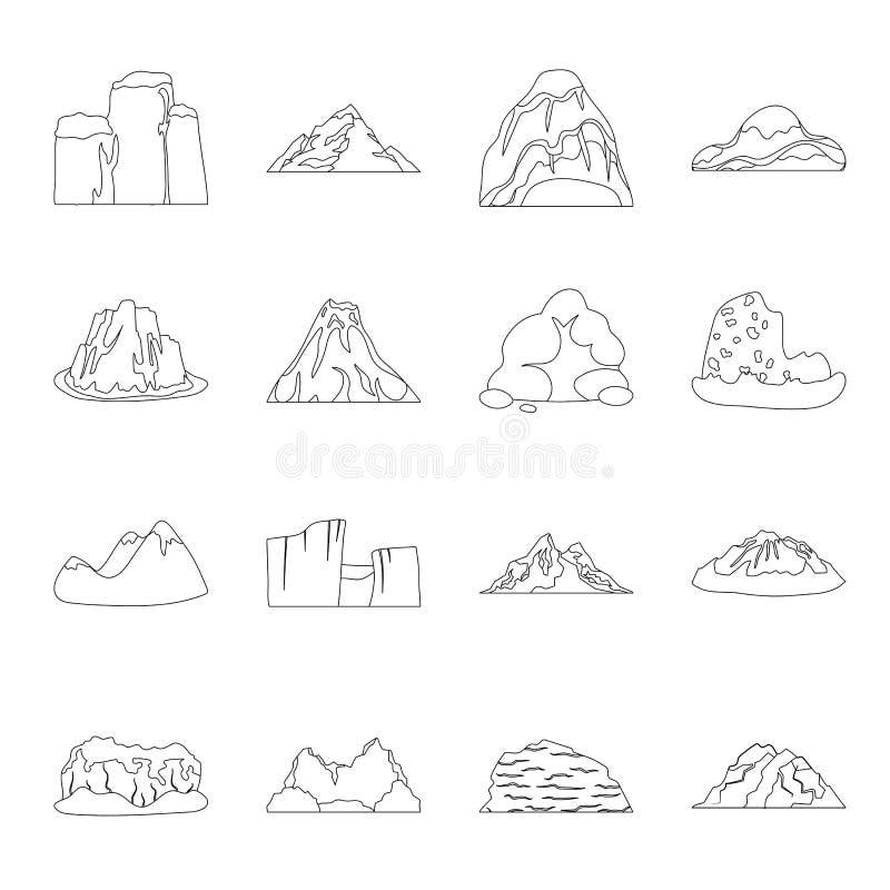 Roche, crête, volcan, et d'autres genres de montagnes Les différentes montagnes ont placé des icônes de collection dans la ligne  illustration libre de droits