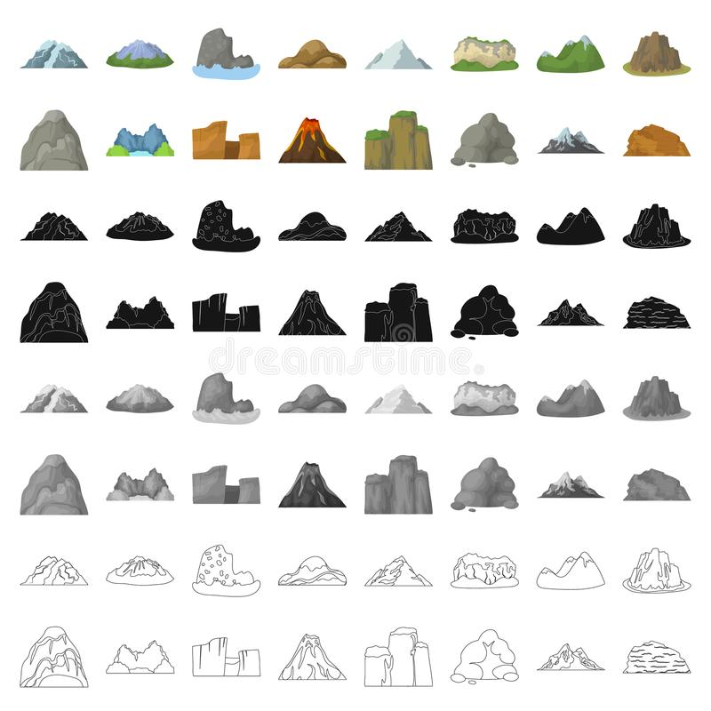 Roche, crête, volcan, et d'autres genres de montagnes Les différentes montagnes ont placé des icônes de collection dans le vecteu illustration de vecteur