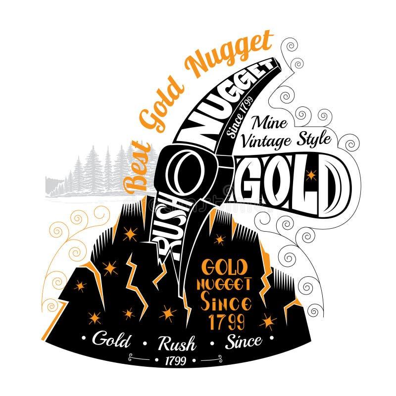 Roche d'écrasement de sélection avec le goldmine Inscription de la meilleure pépite d'or illustration libre de droits