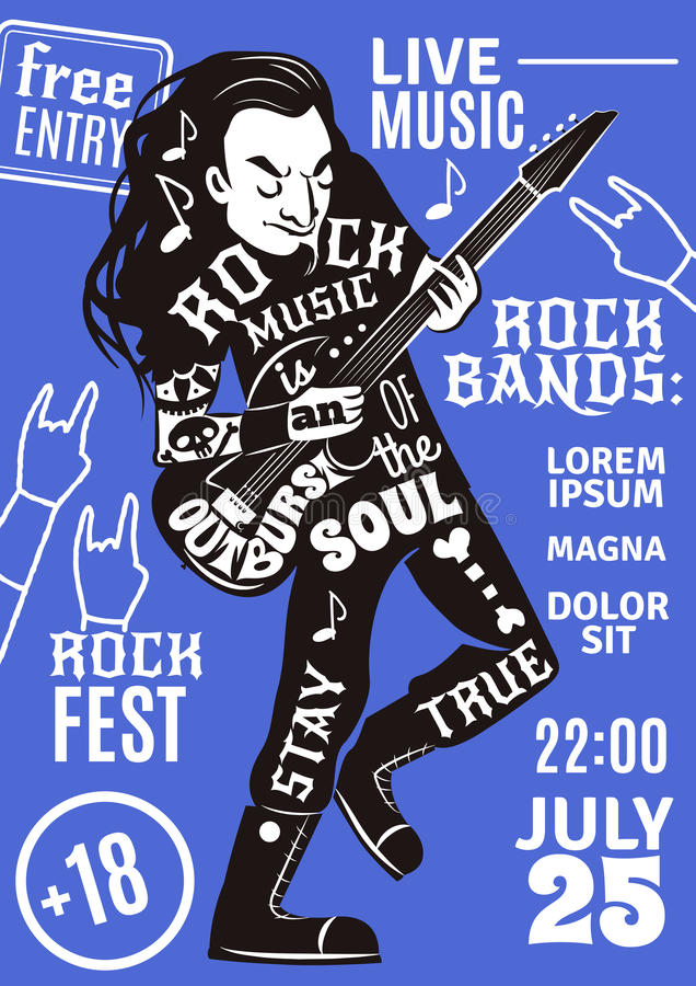 Roche d'affiche de silhouette de lettrage de musique illustration de vecteur