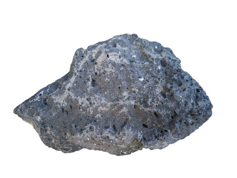Roche de basalte d'isolement sur le fond blanc image libre de droits