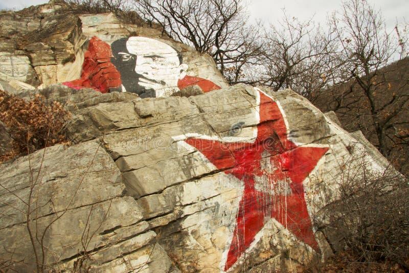 Roche de Lenins, montagne de Mashuk, Pyatigorsk, Fédération de Russie photographie stock libre de droits