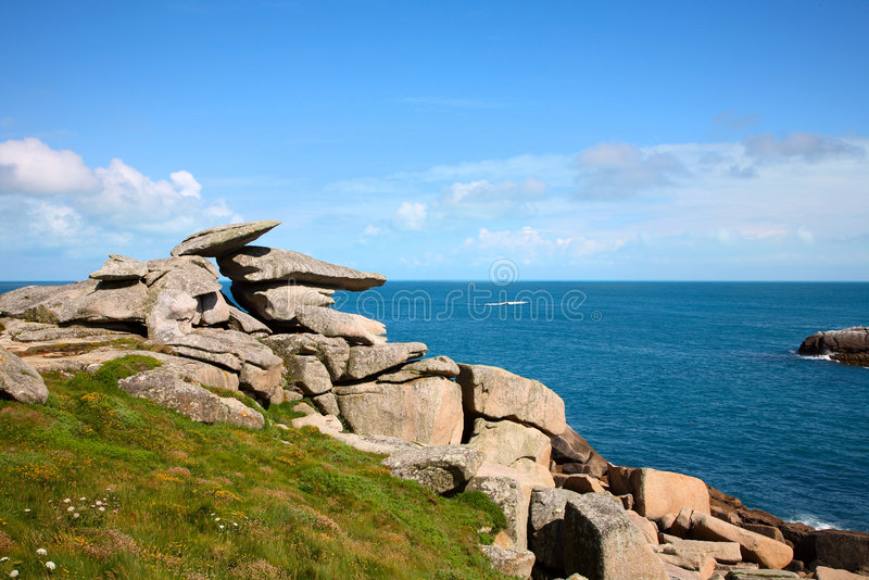 Roche de pupitre, îles de Scilly. images libres de droits
