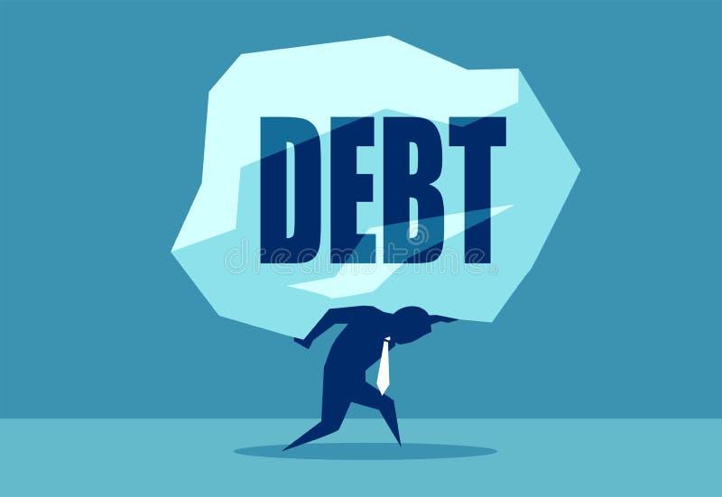 Roche de transport d'homme avec la dette de mot illustration de vecteur