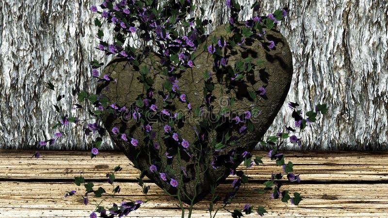 Roche en forme de coeur au-dessus d'un fond avec des roches illustration stock