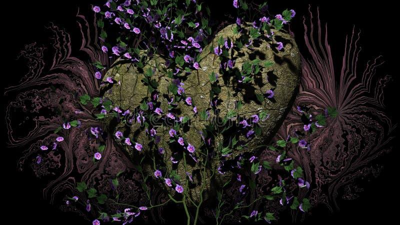 Roche en forme de coeur avec des fleurs au-dessus d'un fond foncé illustration de vecteur