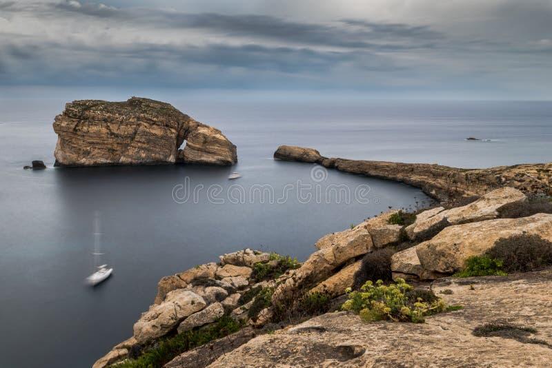Roche fongueuse, sur la côte de Gozo, Malte photos libres de droits