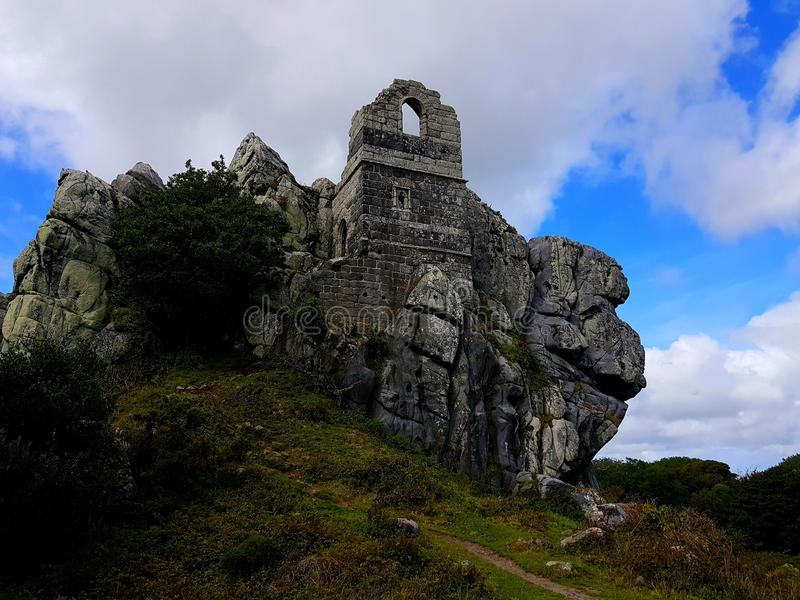 Roche Rock is a ruined chapel, Cornwall & x28;dedicated to St Michael& x29; royalty free stock image