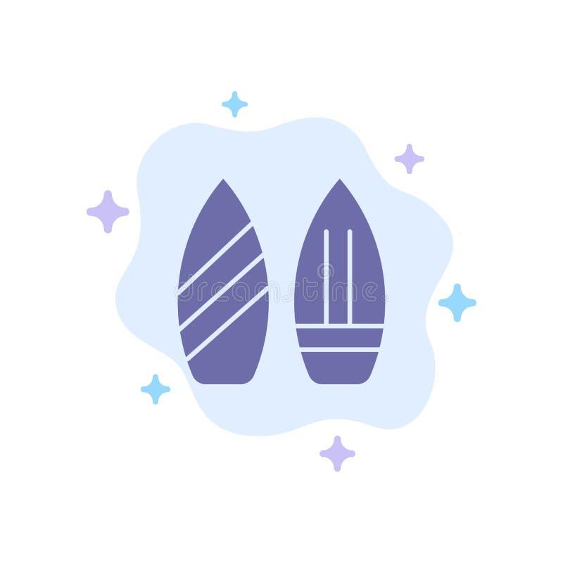 Rochen, Snowboard, Sport, Winter-blaue Ikone auf abstraktem Wolken-Hintergrund vektor abbildung
