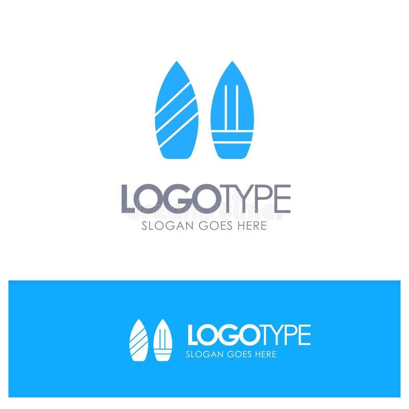 Rochen, Snowboard, Sport, Winter-blaues festes Logo mit Platz für Tagline stock abbildung