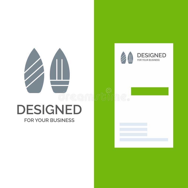 Rochen, Snowboard, Sport, Winter Grey Logo Design und Visitenkarte-Schablone stock abbildung
