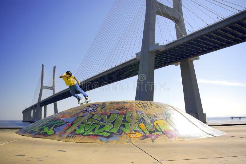 Rochen unter Brücke stockfoto