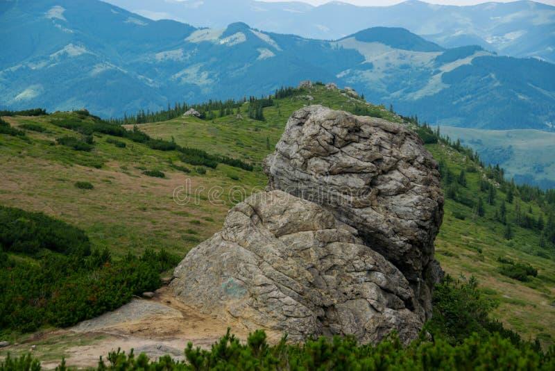 Rocher massif et montagnes vertes images libres de droits