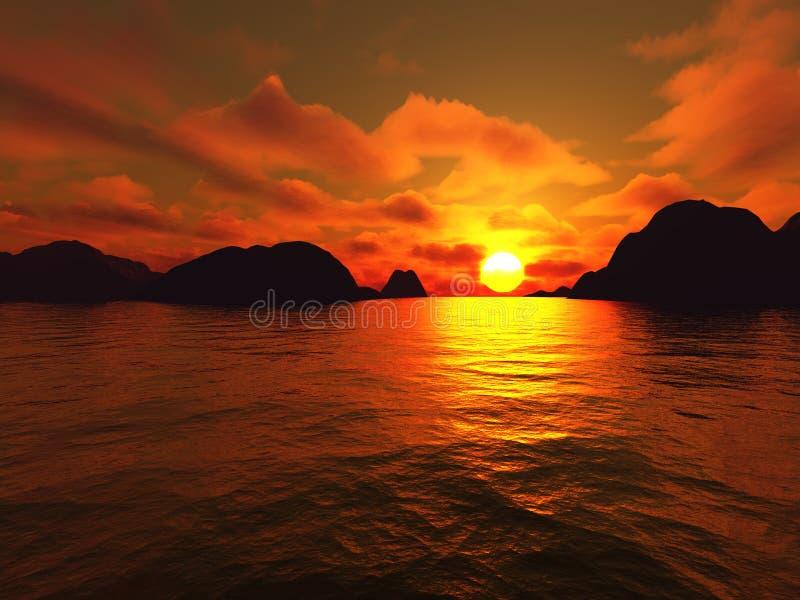 Rochers de coucher du soleil illustration stock