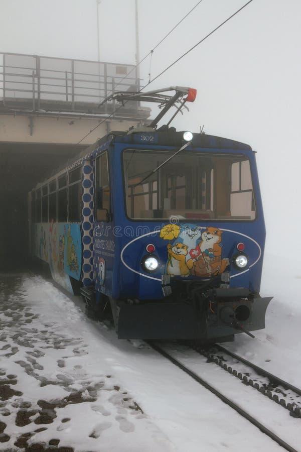 Rochers-de-Naye, Монтрё, Швейцария - натренируйте на станции в тумане стоковая фотография