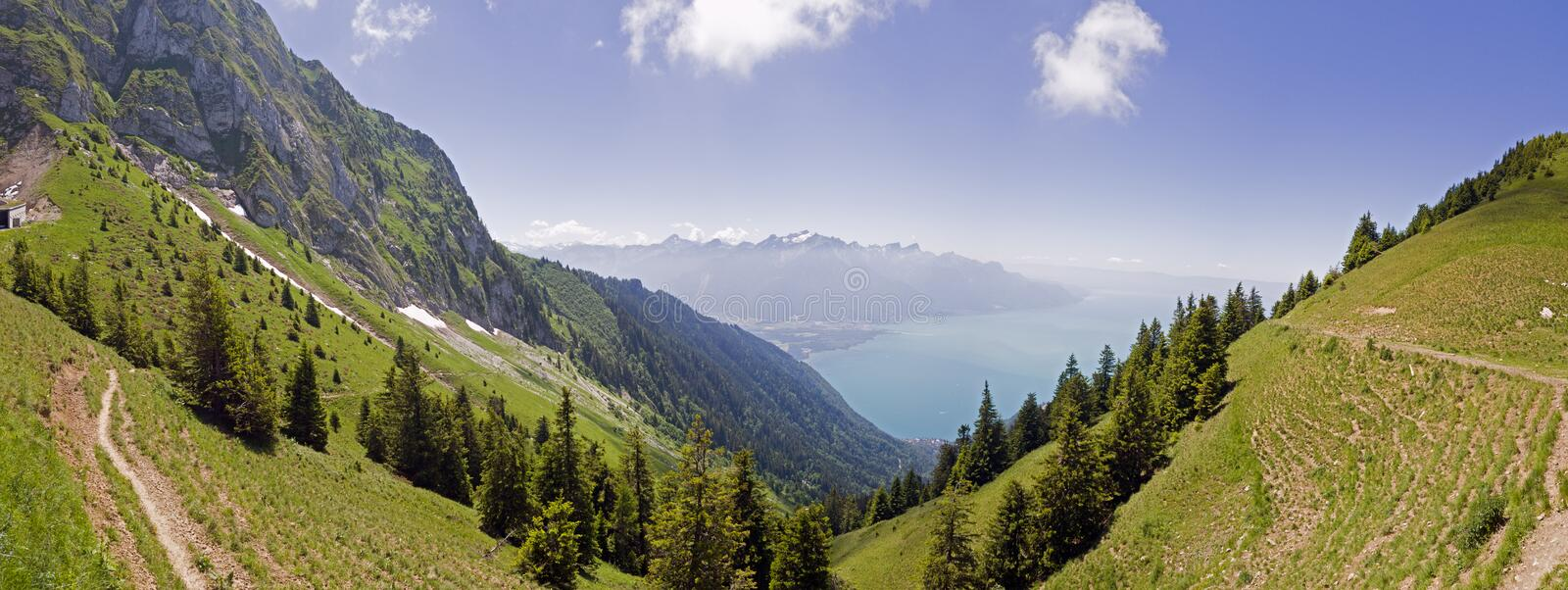 He Rochers de Naye are a mountain of the Swiss Alps, overlooking Lake Geneva. The Rochers de Naye French, lit. `rocks of Naye`; 2,042 metres 6,699 ft are a royalty free stock photography