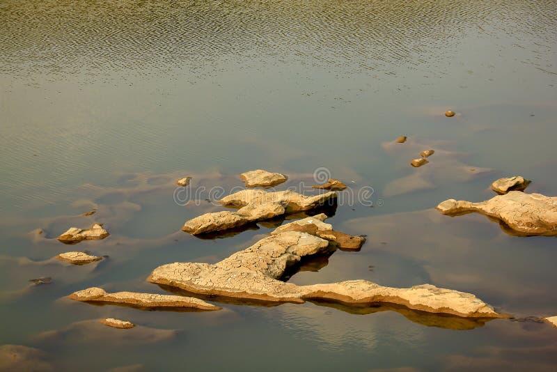 Roches au-dessus de la surface de l'étang photographie stock libre de droits