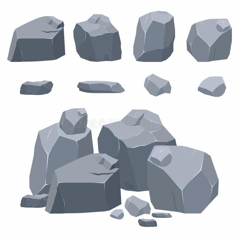 Roches, collection de pierres Différents rochers dans le style 3d plat isométrique illustration libre de droits